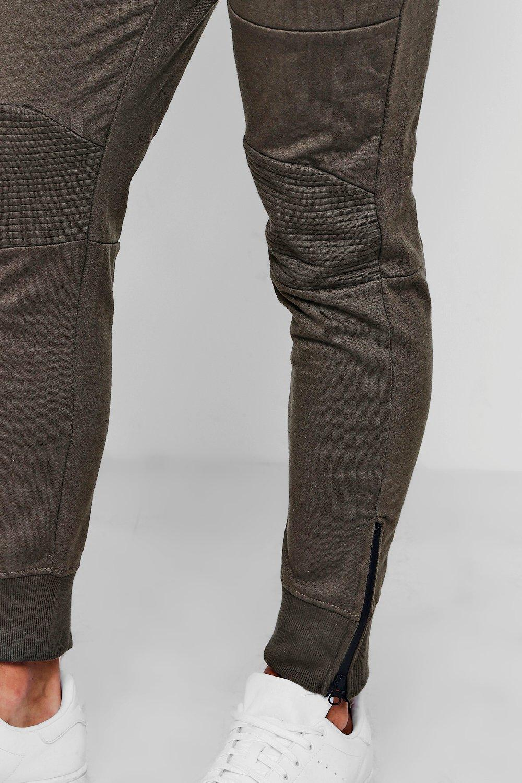 de correr caqui de bajos biker piezas cremallera con con skinny Pantalones ACZxwSBqR