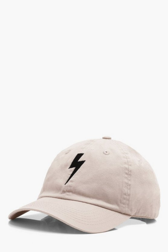 Lightning Bolt Embroidered Enzyme Wash Cap