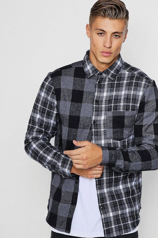 Contrast Check Long Sleeve Shirt