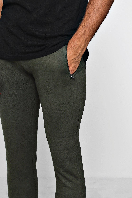 Pantalones correr con forro y polar de skinny caqui cremallera lateral qTfrHxCqWn