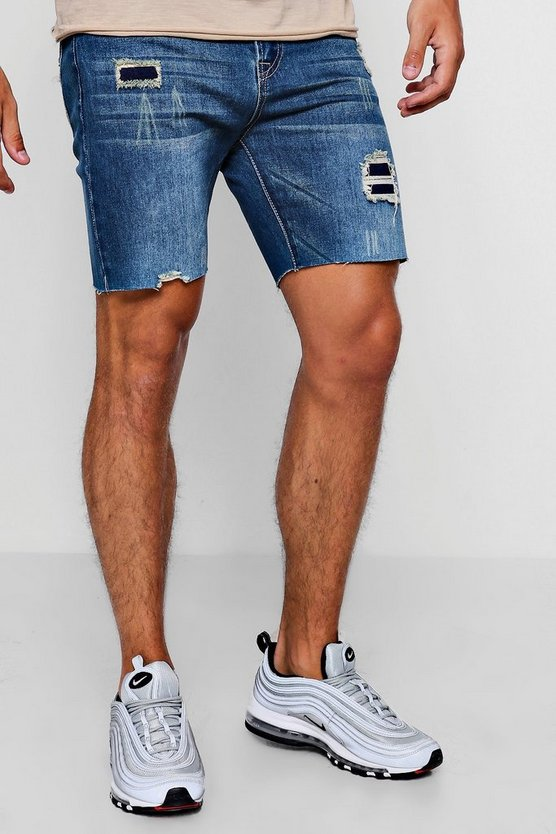 Slim Fit Denim Shorts With Patchwork Distressing