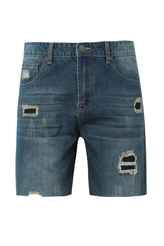 ligero denim entallados en con Shorts azul desgastado Pxn7wnCq