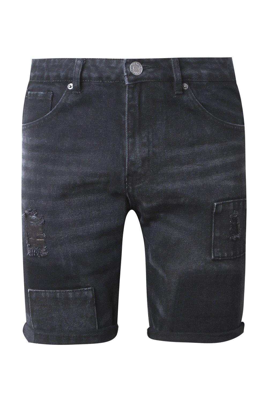 desteñido denim entallados detalles en patchwork con de negro Shorts x7fW6qpnwp