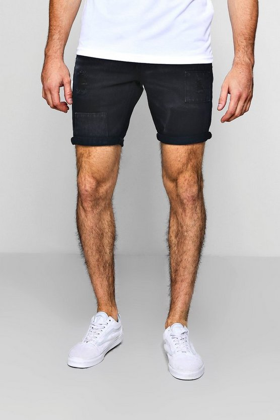 Slim Fit Denim Shorts With Patchwork Details