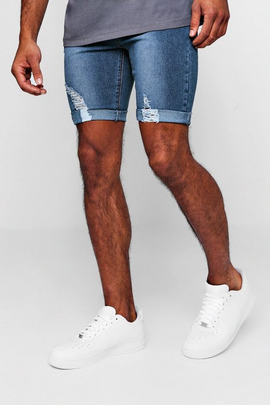 Spray On Skinny Denim Shorts With Distressing