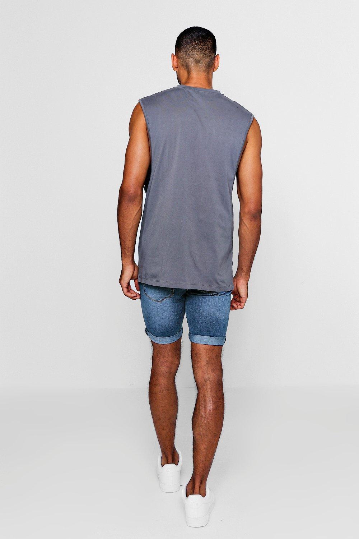 medio rociados desgastado denim muy azul skinny en Shorts UxqX0Rn