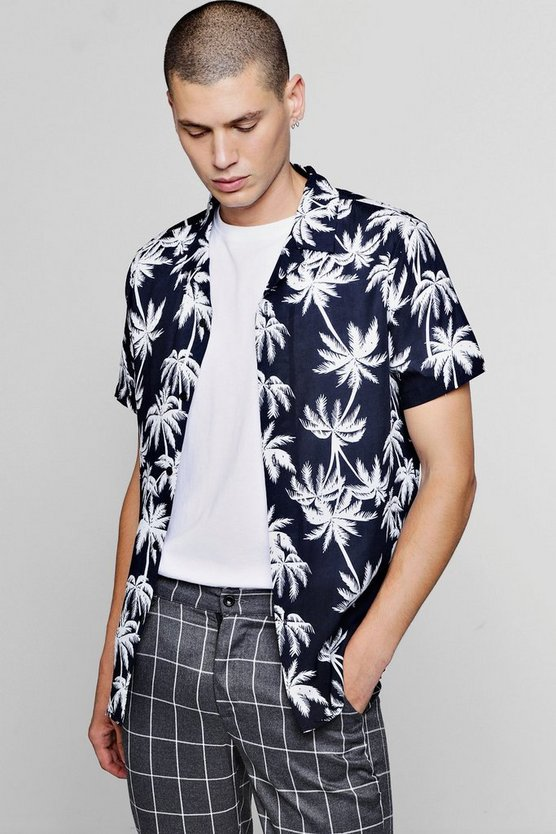 Short Sleeve Palm Print Revere Shirt