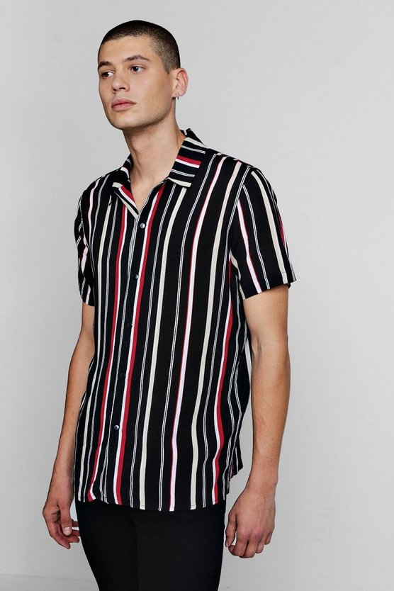 Mens Black Block Stripe Short Sleeve Revere Shirt