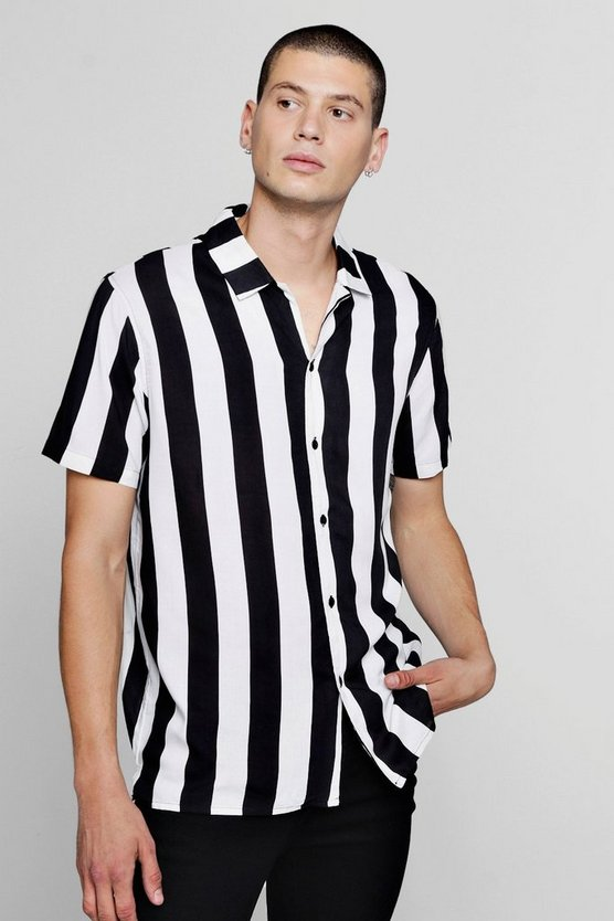 Wide Stripe Short Sleeve Revere Shirt