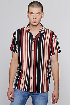 1960s – 70s Mens Shirts- Disco Shirts, Hippie Shirts Red Stripe Short Sleeve Revere Shirt $40.00 AT vintagedancer.com