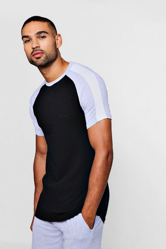 MAN Signature Muscle Fit Contrast Raglan T-Shirt, Black, HOMMES