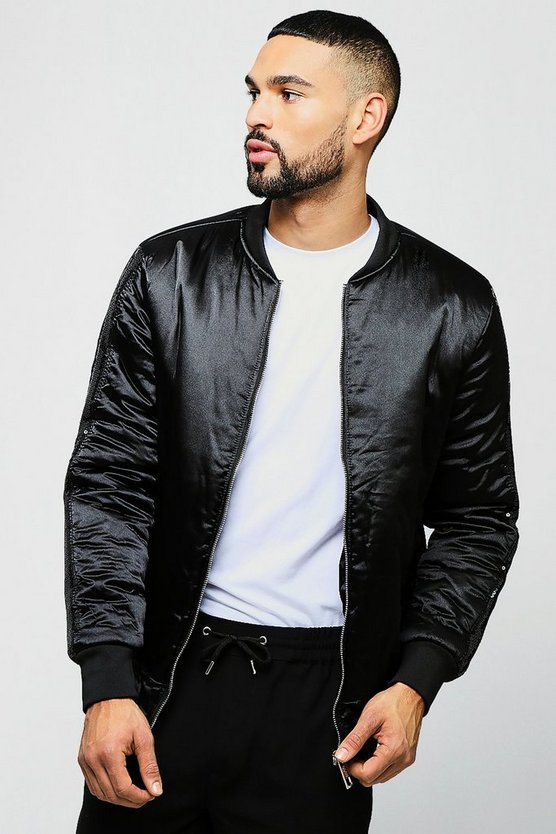 Sateen Bomber With Sequin Insert