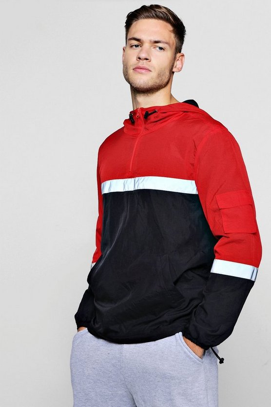 Colour Block Reflective Overhead Cagoule