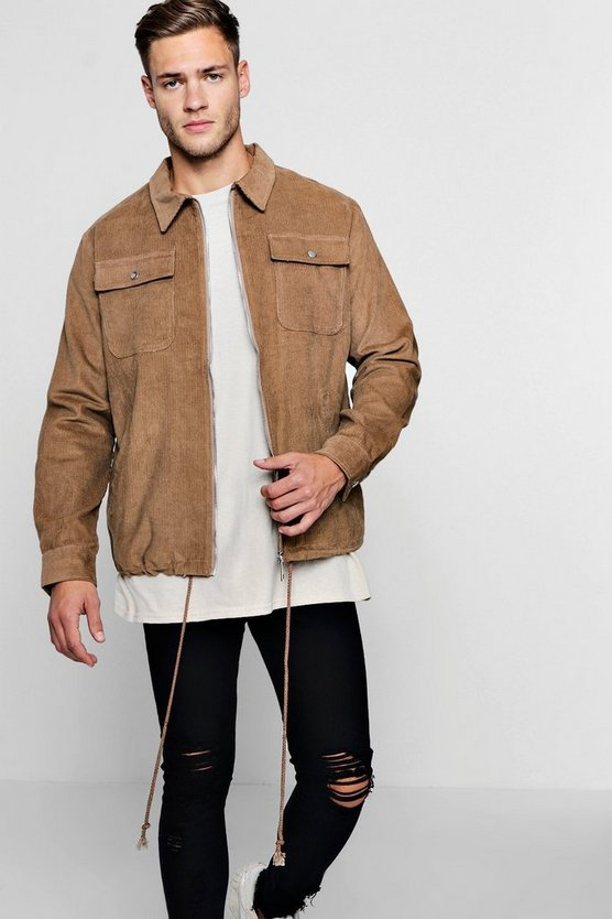 4 Pocket Cord Harrington Jacket by Boohoo Man