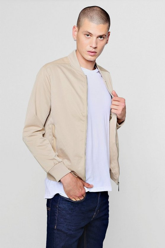 Mens Stone PU Detail Bomber Jacket