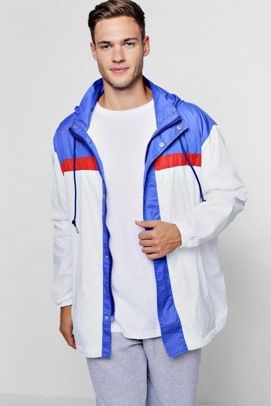 Colour Block Zip Through Cagoule