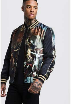 Mens Black Sateen Printed Bomber with Metallic Tape