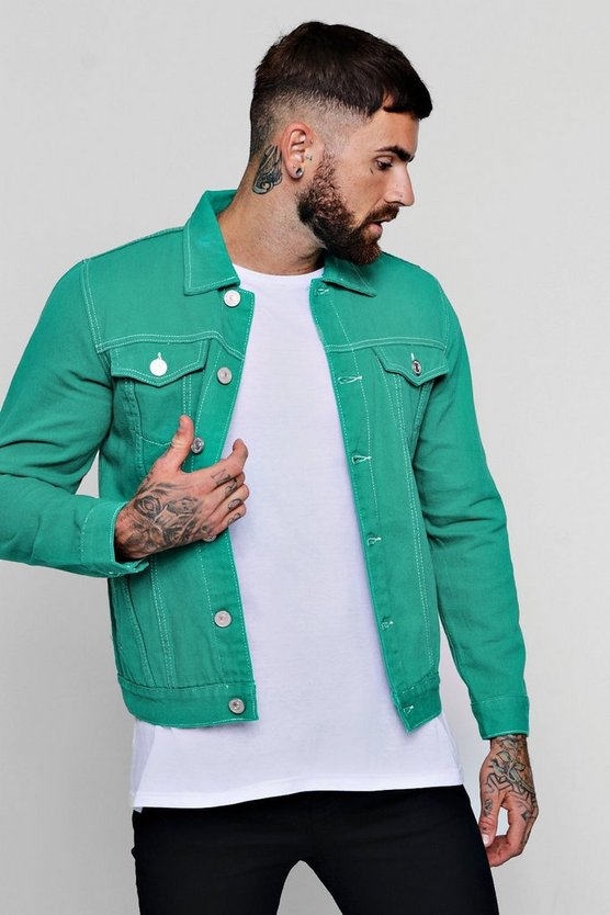 4 Pocket Contrast Stitch Denim Jacket