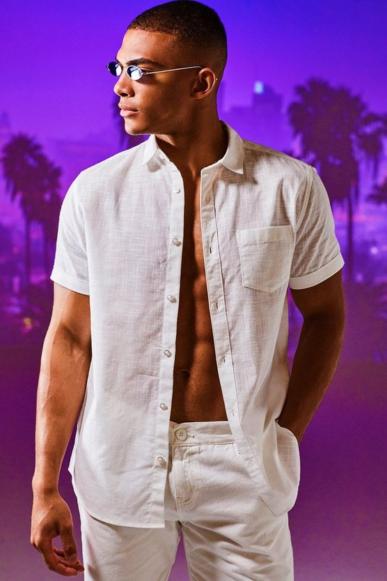 Mens White Linen Cotton Blend Short Sleeve Shirt