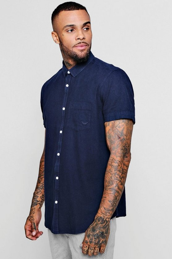Linen Cotton Blend Short Sleeve Shirt