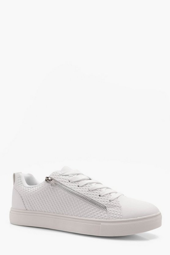 Zip Side Textured Upper Cupsole Trainer