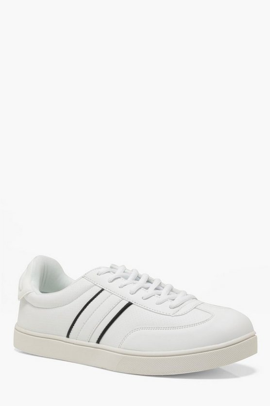 Mens White Faux Leather Retro Cupsole Trainer