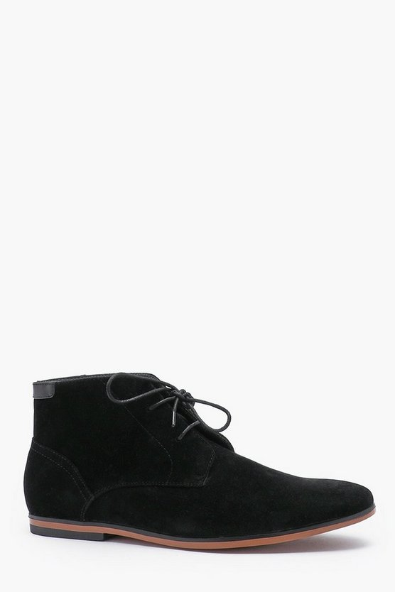 Mens Black Faux Suede Smart Chukka Boot