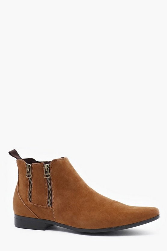 Double Zip Faux Suede Chelsea Boot