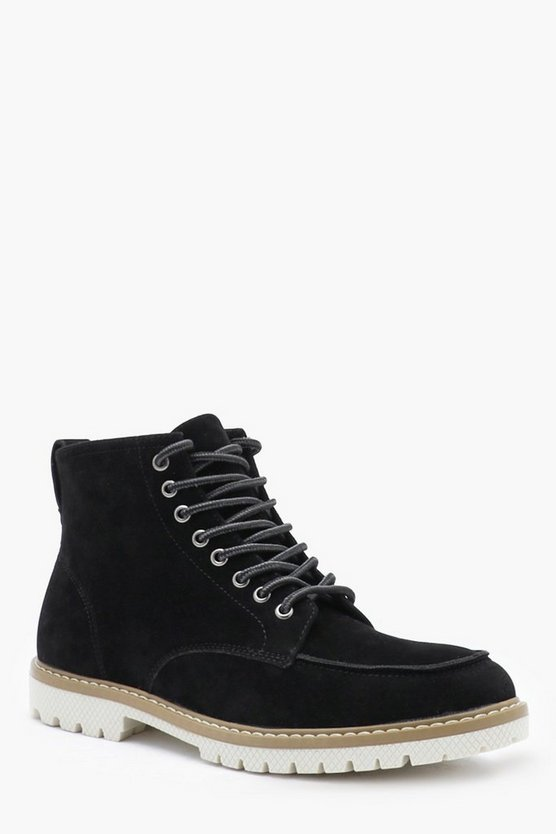 Mens Black Faux Suede Apron Boot