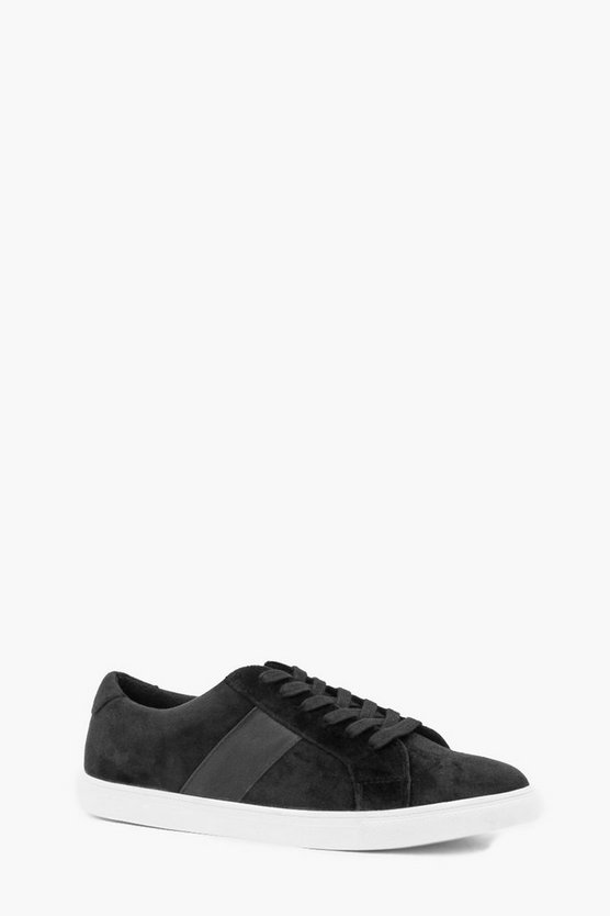 Mens Black Velvet Cupsole Trainer
