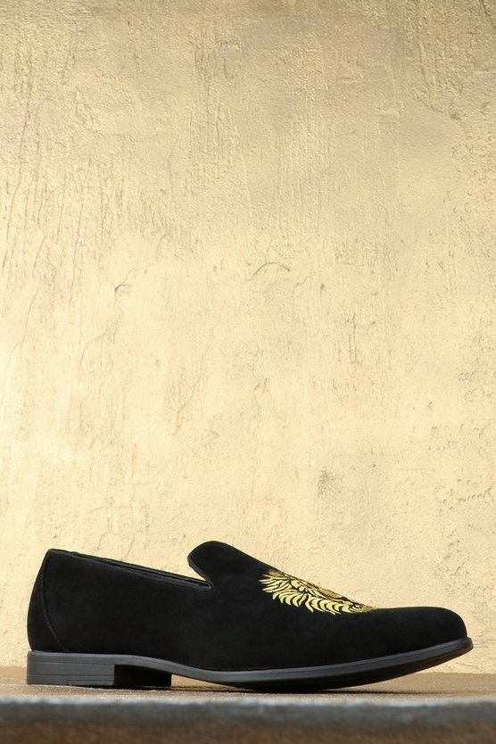 Lion Embroidered Faux Suede Loafer