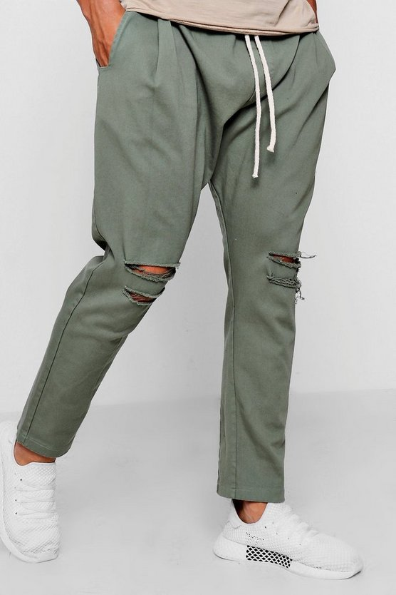 Tapered Fit Drawstring Chino With Ripped Knee