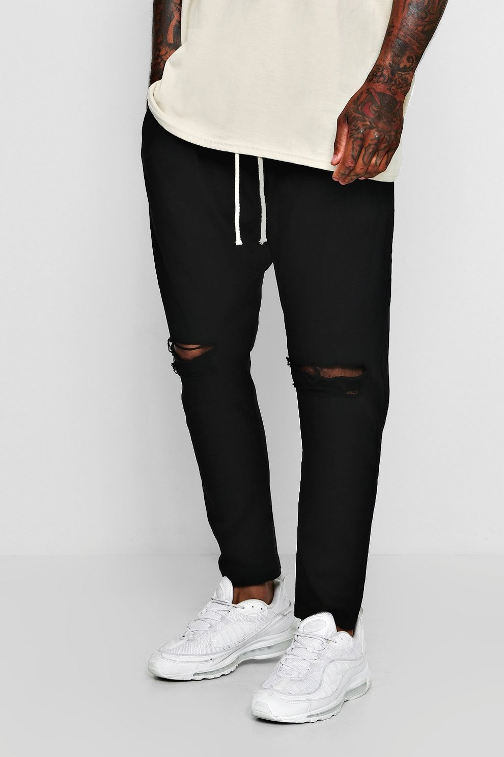 Tapered Fit Drawstring Chino With Ripped Knee Boohooman Premium Shop Black Original