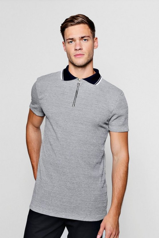 Slim Fit Marl Ribbed Polo With Contrast Collar
