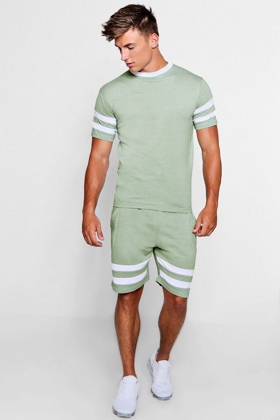 Contrast Sleeve Panel T-Shirt And Short Set