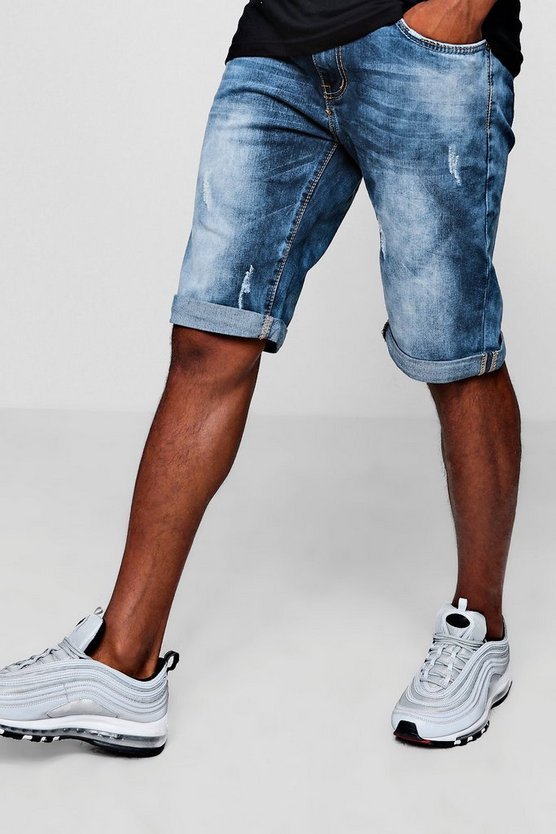 Skinny Fit Denim Shorts With Turn Up