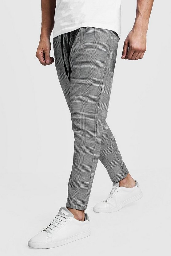 Grey Woven Checked Jogger With Yellow Stripe