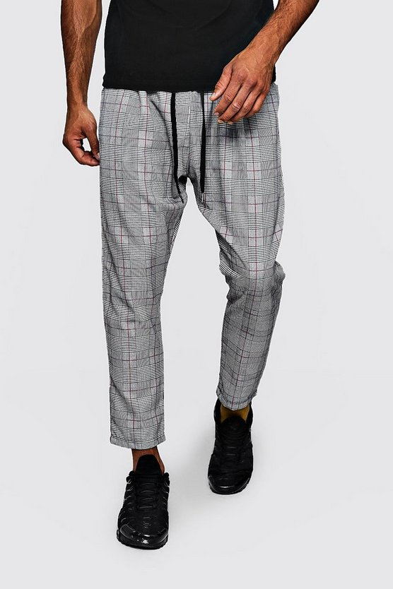 Grey Woven Checked Jogger With Red Stripe