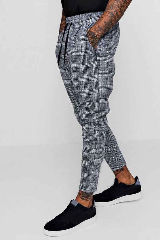 Mens Light grey Smart Checked Jogger Trouser