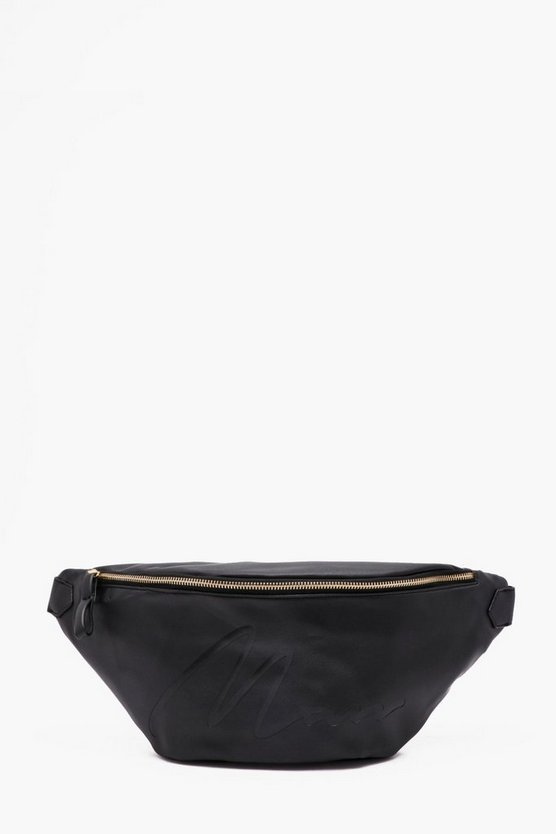 MAN Embossed Oversized Faux Leather Bumbag