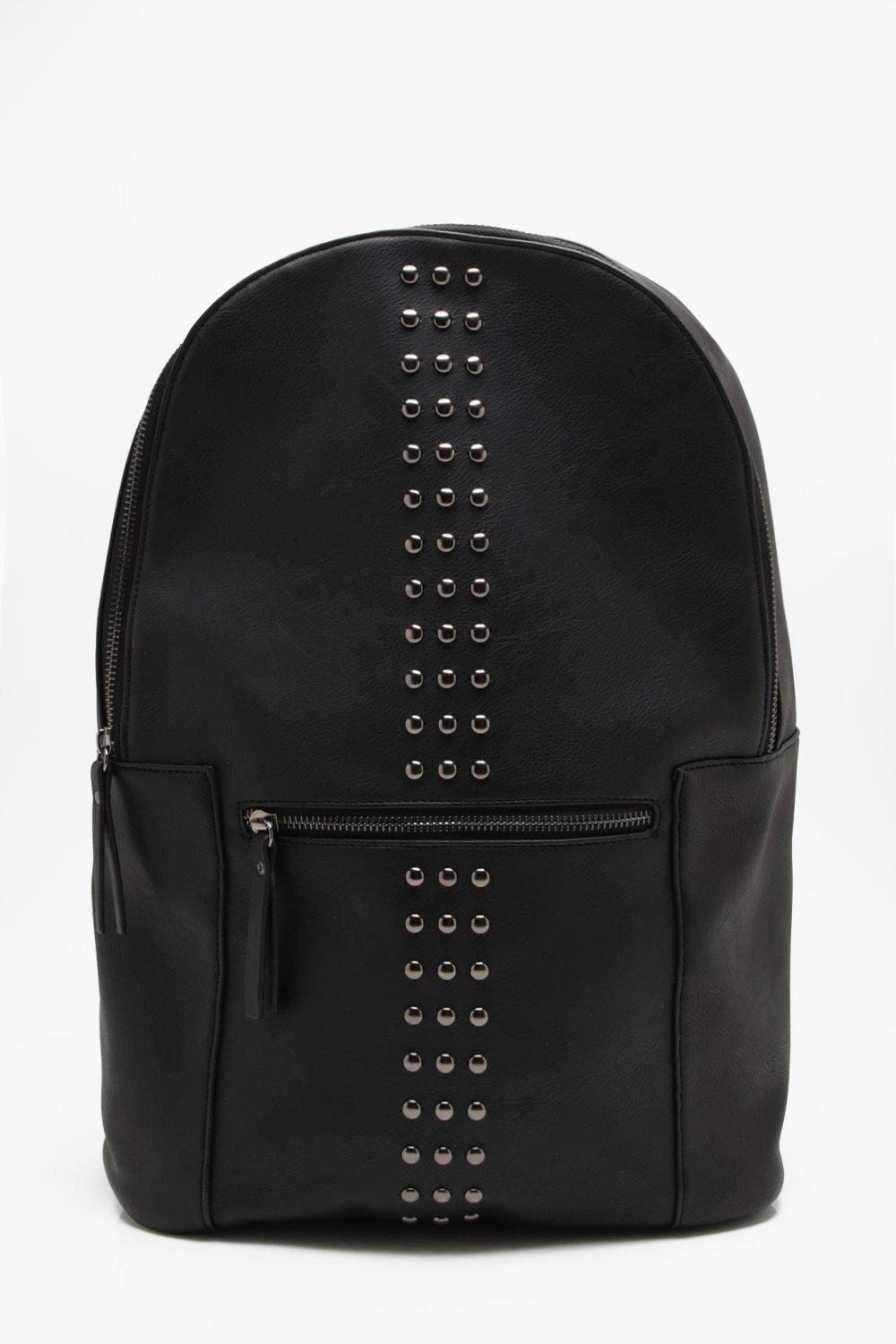 2cf5a20641 Mens Black Faux Leather Studded Rucksack