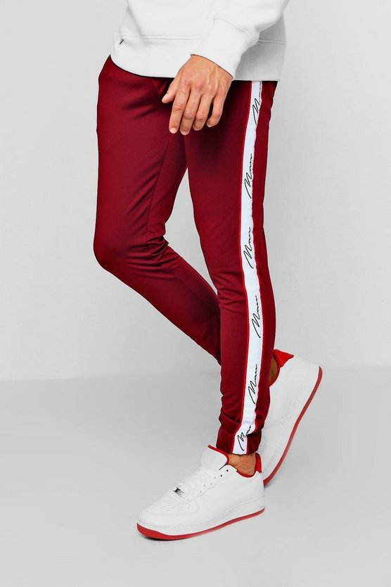 Mens Skinny Fit Tricot MAN Tape Joggers