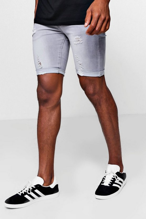 Spray On Denim Short in Grey with Rips