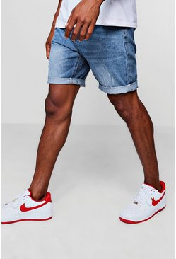 Mens Slim Fit Denim Short in Mid Blue