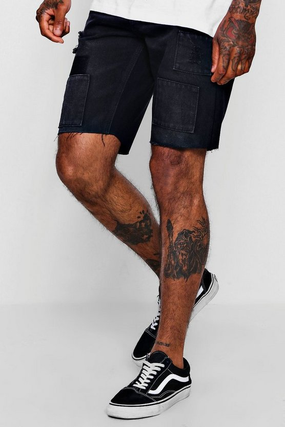 Slim Fit Denim Short in Black with Patchwork