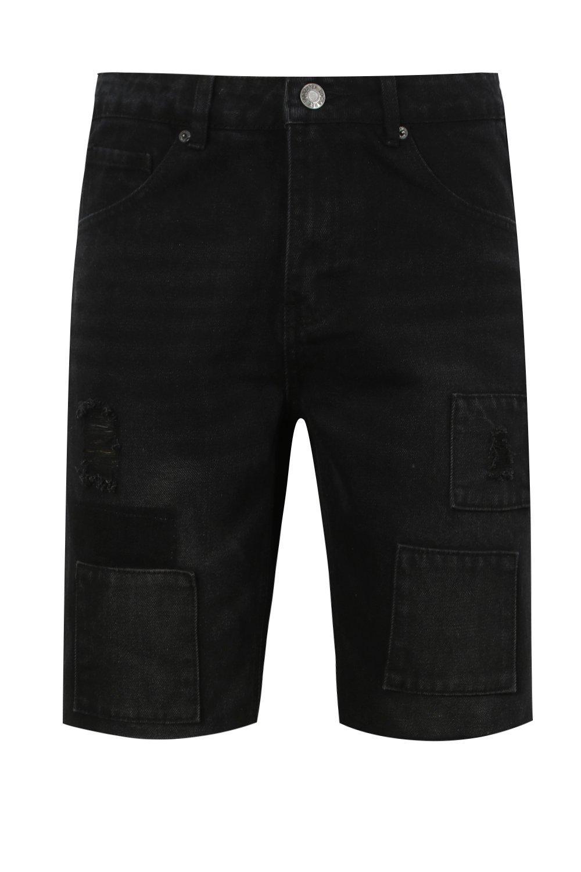 negro denim entallados patchwork detalles negro en nbsp;Shorts de con 8Ovqp11