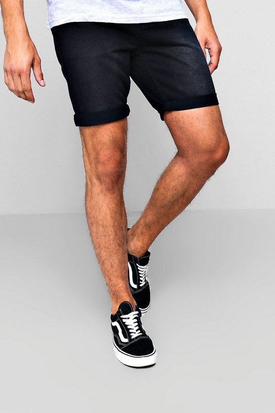Mens Washed black  Slim Fit Denim Short in Washed Black