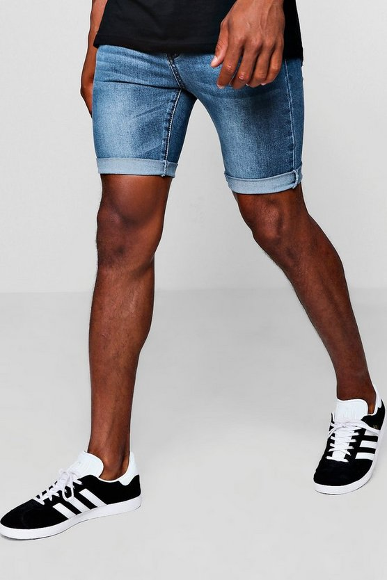 Spray On  Denim Short in Mid Blue