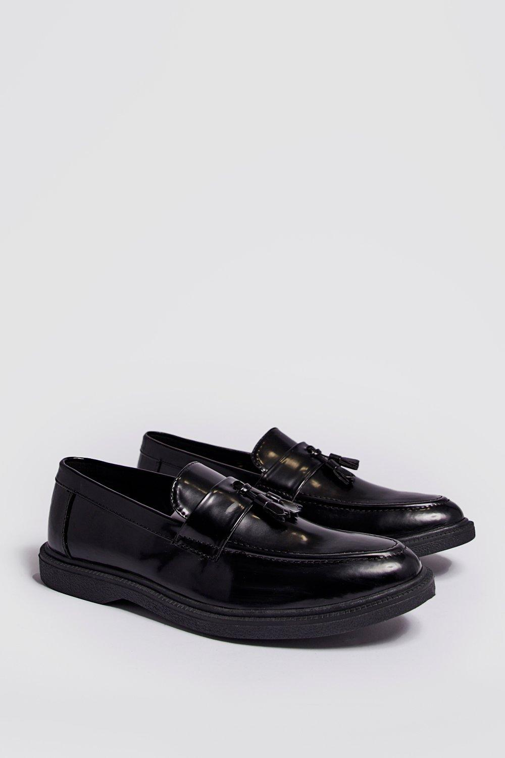 Faux Leather Heavy Soled Tassel Loafer