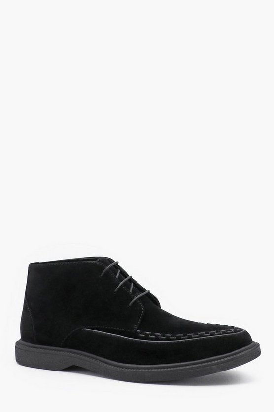 Mens Black Faux Suede Lace Up Chukka Boot